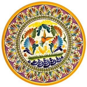Talavera plates made in Pueblo, Mexico