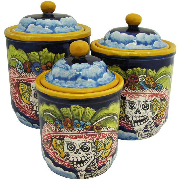 day of the dead majolica kitchen canisters | talavera
